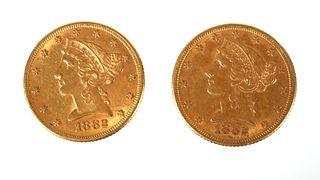 2 U.S. GOLD $5 Half Eagle Coins Liberty Head