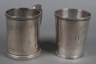 (2) Antique Southern Coin Silver Mugs Cups