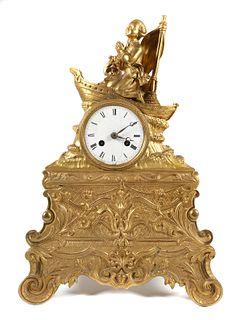 Antique French Medaille de Bronze Mantle Clock