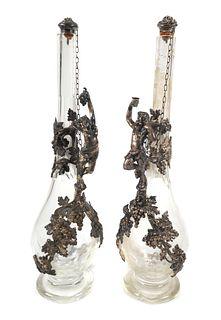 Circa 1900 Silver and Glass Figural Wine Decanter
