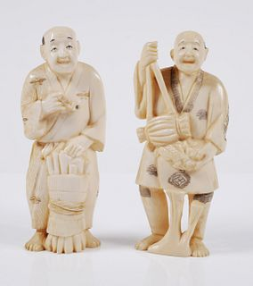 Pair Old Chinese Carved Ivory Figurines
