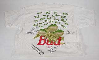Signed Budweiser Frogs 1995 White T Shirt