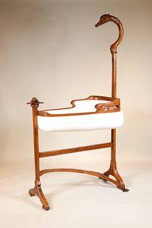 Art Nouveau Mahogany Cradle on Stand