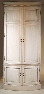 Scandinavian White-Stained Curved Corner Cupboard