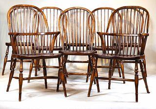 Eight Smith & Watson Windsor Oak Dining Chairs