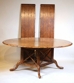 Contemporary Circular Walnut Dining Table