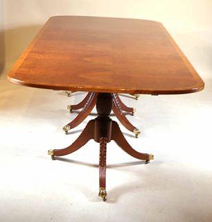 Regency Style Triple Pedestal Dining Table