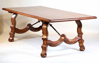 Baroque Style Walnut and Iron Dining Table