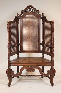 Baroque Style Oak Caned Seat Throne Chair