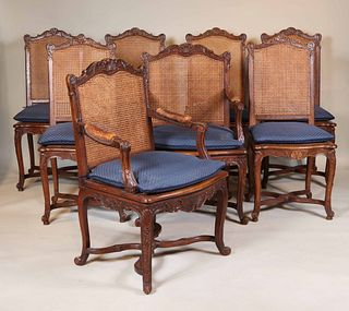 Eight Louis XV Style Cane Back Oak  Dining Chairs