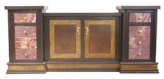 Contemporary Inlaid Wood and Marble Sideboard