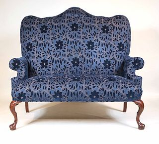 Chippendale Style Mahogany Upholstered Settee
