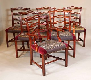 Six Chippendale Style Ribbon Back Dining Chairs