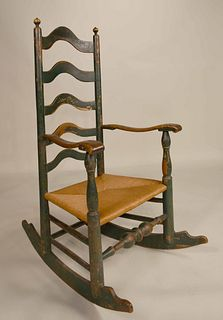 Green Painted Maple Rush-Seat Ladderback Armchair