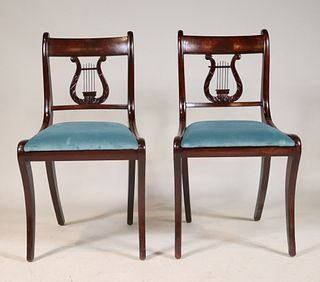 Pair of Classical Mahogany Lyre-Back Chairs