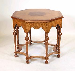 Baroque Style Inlaid Octagonal Center Table