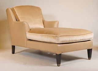 Contemporary Velour and Leather Chaise Lounge