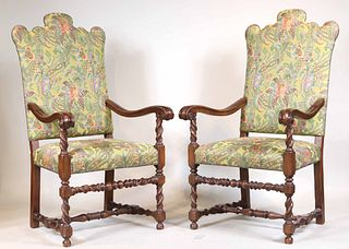 Pair of Baroque Style Mahogany Library Armchairs