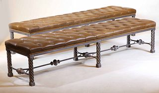 Pair of White Metal and Brown Leather Benches