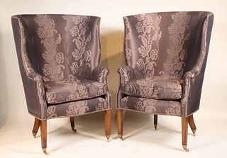 Pair of Contemporary Upholstered Wing Chairs