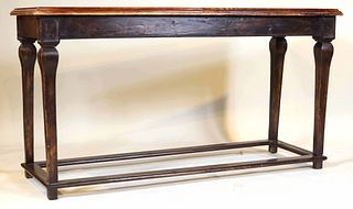 Baroque Style Leather-Upholstered Console Table