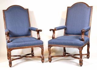 Pair of Baroque Style Walnut Library Armchairs