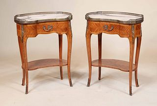Pair of Louis XV Style Marble Top Side Tables