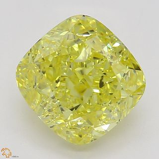 1.56 ct, Natural Fancy Vivid Yellow Even Color, VVS2, Cushion cut Diamond (GIA Graded), Appraised Value: $62,700