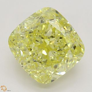 4.02 ct, Natural Fancy Intense Yellow Even Color, VS1, Cushion cut Diamond (GIA Graded), Appraised Value: $226,700