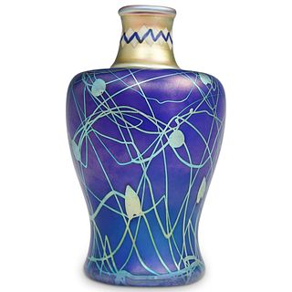 Rare Steuben Iridized Sapphire Blue Vase
