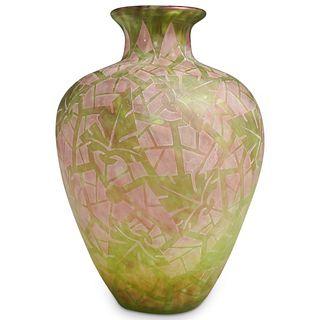 "Steuben Cluthra Green Glass ""Boothbay"" Pattern Vase"
