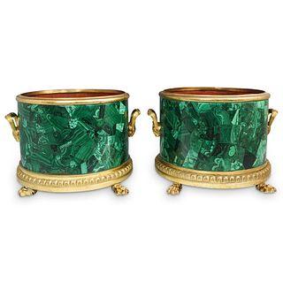 Malachite and  Gold Gilt Cachepots