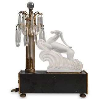 Steuben Glass Gazelle Pillar and  Crystal Prisms Luminor