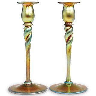 Steuben Gold Aurene Twist Stem Candlesticks