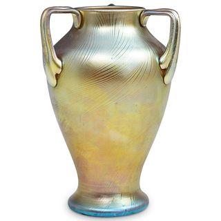 Steuben Gold Aurene Three Handle Vase
