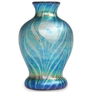 Steuben Blue Aurene Vase w/ Platinum Decor
