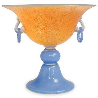 Steuben Orange Cintra Pedestal Bowl