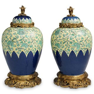 Pair of Bronze Mounted Enameled Vases