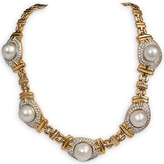 18K Mabe Pearl and  Diamond Necklace