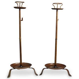 Pair of Japanese Bronze Shokudai Candlesticks