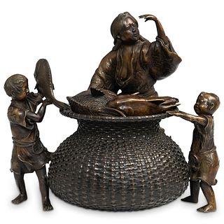 Japanese Bronze Meiji Urn