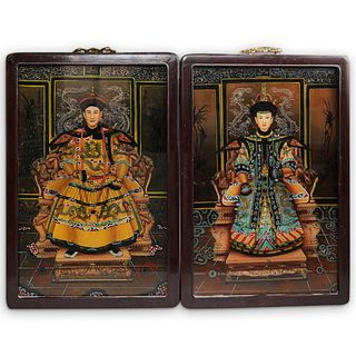 (2 Pc) Chinese Reverse on Glass Paintings