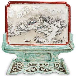 Chinese Glazed Porcelain Screen Figurine