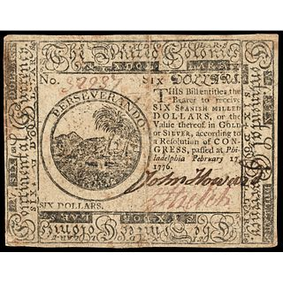 Colonial Currency, Continental Congress. February 17, 1776 Six Dollars