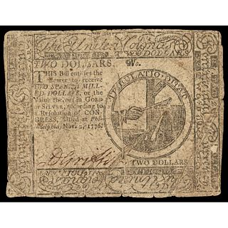 Continental Congress. November 2, 1776. Two Dollars. Philadelphia issue. Fine.