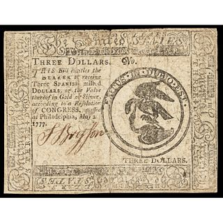 Continental Currency, May 20, 1777, $3 First THE UNITED STATES titled Issue VF