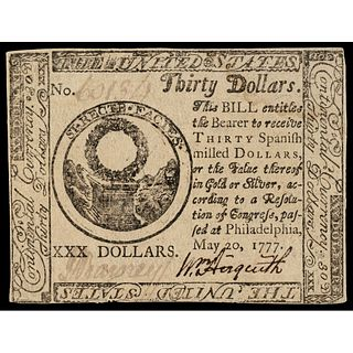 Continental Congress May 20, 1777 $30 First UNITED STATES Issue PMG AU-55