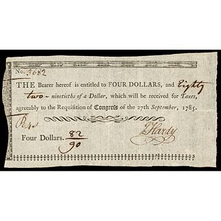 Sept. 27, 1785 Continental Congress Federal Indent, Four and 82/90th of a Dollar