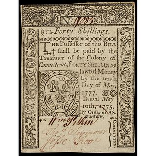Colonial Currency, CT. May 10, 1775 40s FR CT-182CFT, PMG Choice Uncirculated-63