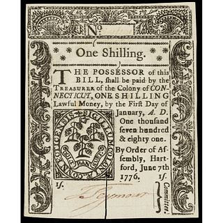 Colonial Currency, Conn. June 7, 1776 One Shilling, Slash Cancel, PMG Ch. CU-64